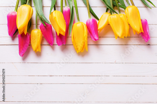 Photo  Bright yellow and pink spring tulips  on white  wooden backgroun