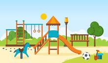 Kids Playground, Horizontal Bars, Swings, Walking Park, Children's Toys.