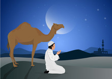 Man Praying And Camel With Full Moon Background