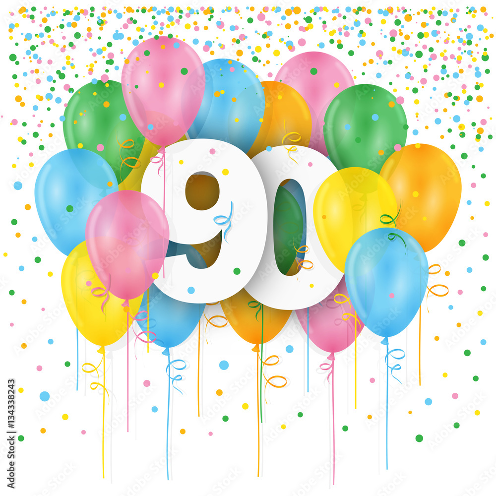 HAPPY 90th BIRTHDAY ANNIVERSARY Card With Bunch Of Multicoloured Balloons Foto Poster Wandbilder Bei EuroPosters