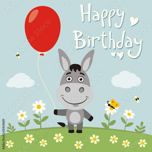 Happy Birthday Funny Donkey With Red Balloon On Flower Meadow