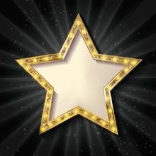 Gold Star On A Dark Background.