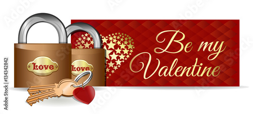 189c41f7e75e7 Valentine's Day card. Banner. Design. Locks on the background of a ...