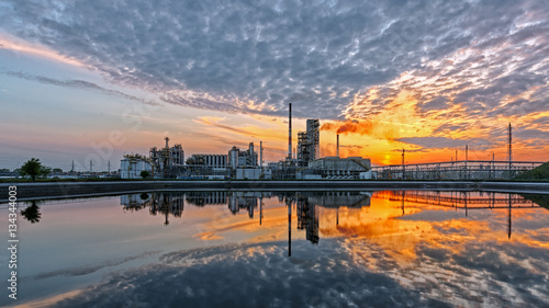 Valokuva  Oil refinery at sunset. HDR - high dynamic range