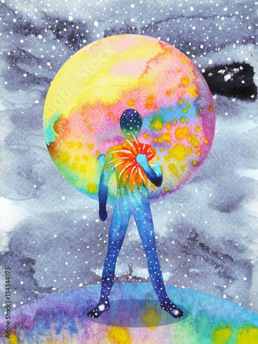 Photo  human and universe power, watercolor painting, chakra reiki, inspiration abstrac