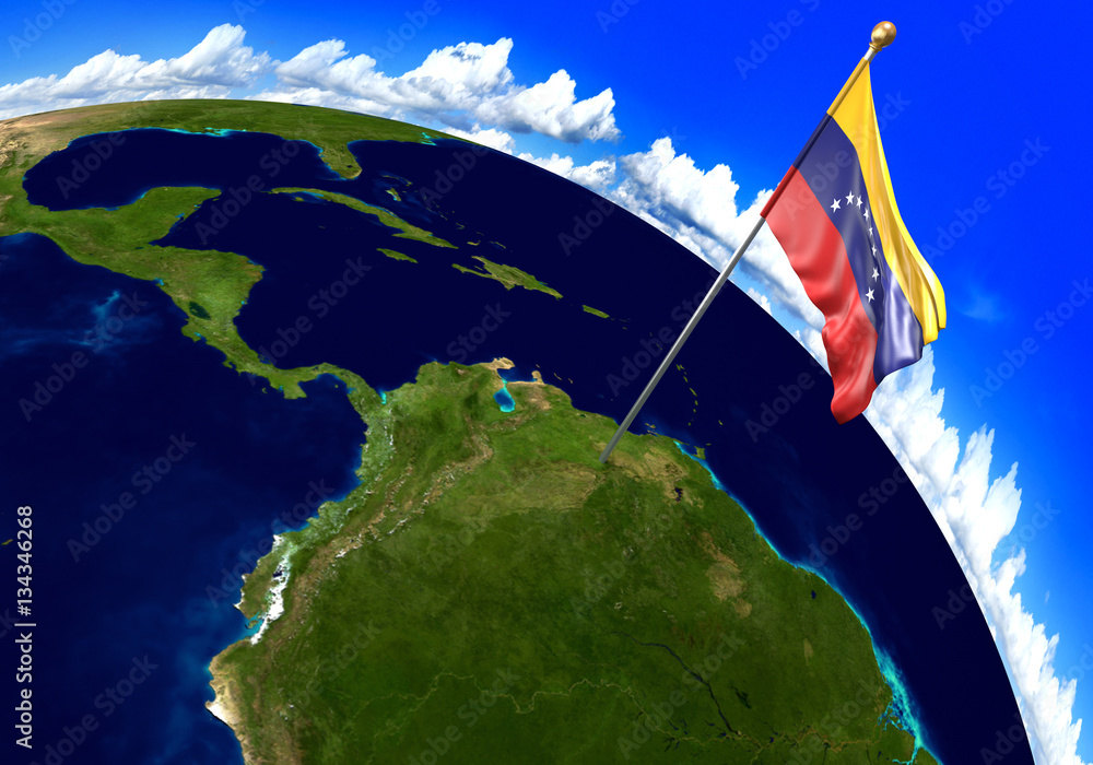 Venezuela national flag marking the country location on world map ...