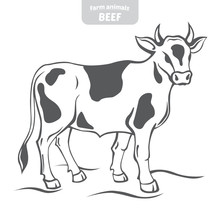 Cow In A Graphic Style, Hand-d...