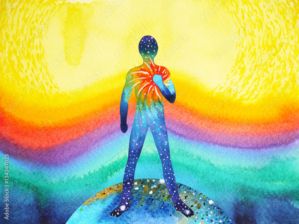 Fototapety, obrazy: human and universe power, watercolor painting, chakra reiki abstract art