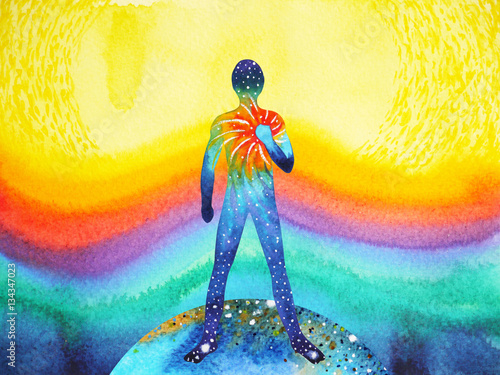 Fotografie, Obraz  human and universe power, watercolor painting, chakra reiki abstract art