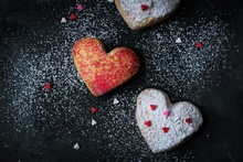 Valentine Heart Cookies Dusted With Powdered Sugar Top View