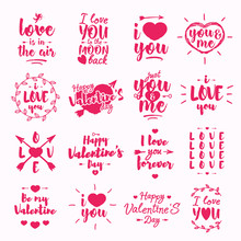 Happy Valentine's Day Label Set With Lettering Typography Wish Isolated On White Background For Use Greeting Card, Stamps, Posters And Romantic Quote. Vector Typography Congratulations Collection