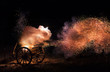 canvas print picture - Cannon blast with sparkles