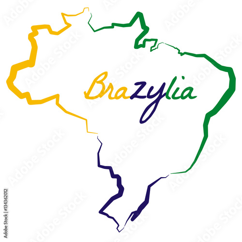 Mapa Konturowa Brazylii Buy This Stock Vector And Explore