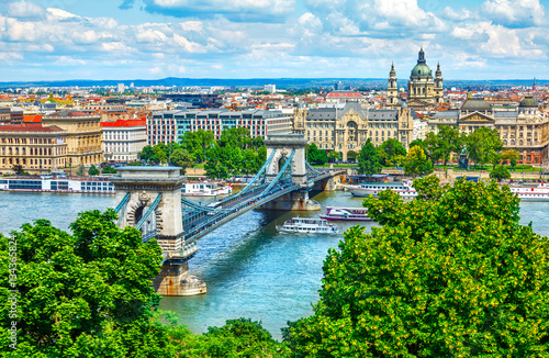 obraz dibond Chain bridge in Budapest