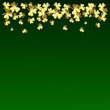 St. Patrick's Day. Luxury Background With Gold Clover On Green Gradient. Space For Your Text. Beautiful Vector Design Template.