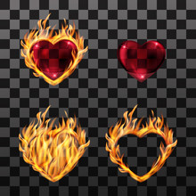 Vector Illustration. Set Of Icons Of A Burning Heart, Red, Transparent Glass Heart In A Frame Of Fire. Design For Cards, Invitations, Business Cards, Banner For Valentine's Day, Wedding