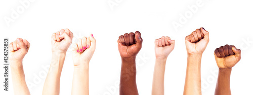 Fotografiet  Multi-ethnic Young Adults' Hands