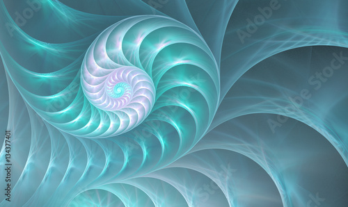 Cadres-photo bureau Fractal waves illustration of a fractal shell on the sea