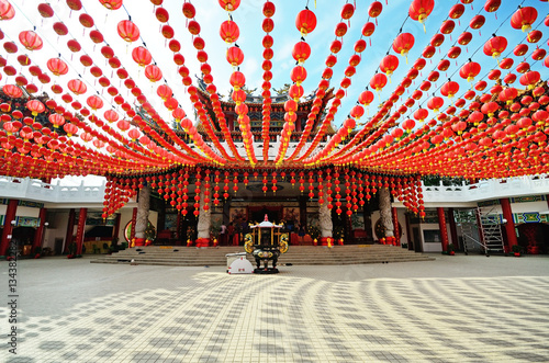 Lanterns decoration at Thean Hou temple during the month of Chinese New Year, Kuala Lumpur, Malaysia.