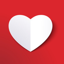White Paper Cut Love Heart For Valentine's Day Or Any Other Love Invitation Cards. Vector EPS 10