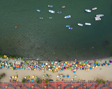 PARACAS, ICA, PERU: Aerial View Of EL CHACO BEACH, In Paracas.