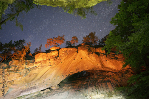 """Rock """"Hawkeye"""" night Canvas Print"""
