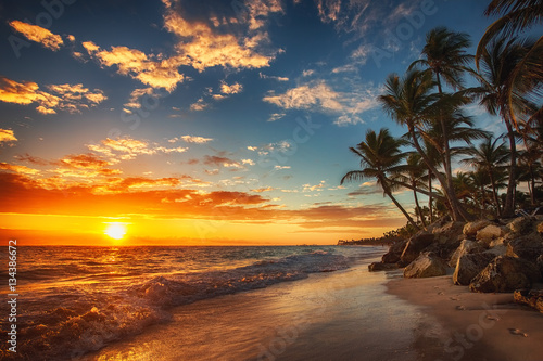 Foto-Schiebegardine Komplettsystem - Sunrise over the beach