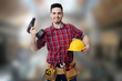worker happy with the drill of DIY and construction