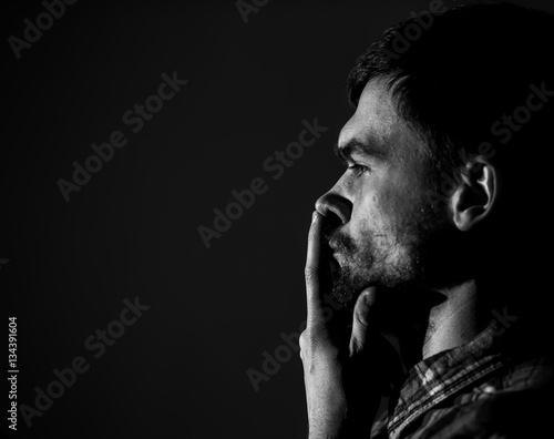 young man, sad emotions, black and white photography