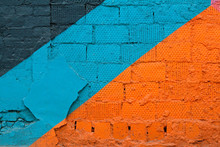 Colorful (grey, Blue And Orange) Brick Wall As Background, Texture