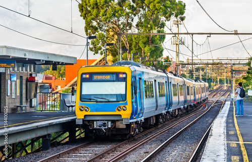 Melbourne Metro Train at Victoria Park station, Australia