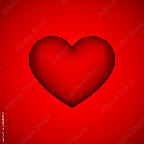 Red Heart Sign Abstract Valentines Day Blank Button