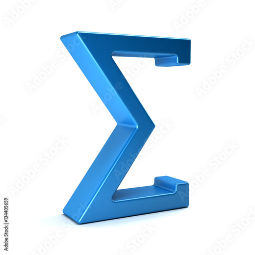 Fotografie, Obraz  Sigma, Summation Symbol. 3D Rendering Illustration