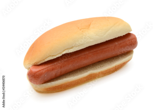 hot dog in bun isolated on white background