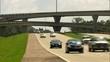 light interstate traffic with overpass