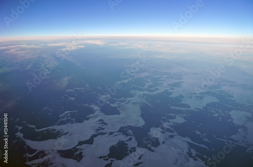 Poster Luchtfoto Aerial view of the Bering Strait on the western edge of Alaska near Nome facing Russia