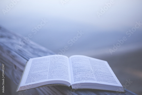 Fotografie, Obraz  Bible at the Beach with Copy Space