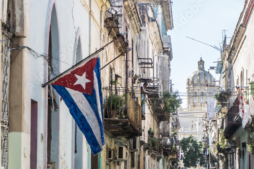 Fotobehang Havana street view from La Habana Vieja, the most touristic place of cuba, on december 26, 2016, in La Havana, Cuba