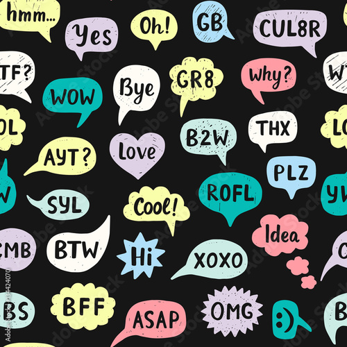 Photo Seamless Pattern with Hand Drawn Internet Acronyms
