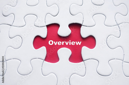 Fototapeta Missing puzzle with Overview word