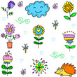Collection of spring set item doodles