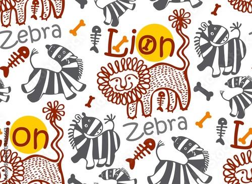 Printed kitchen splashbacks Seamless children's background with African animals