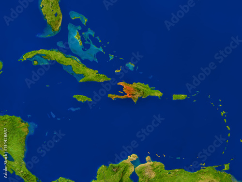 Canvas Print Haiti from space in red