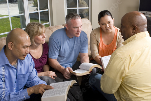 Fotografie, Obraz  Portrait Of Friends At Home Bible Study