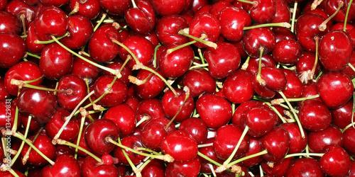 Berries ripe, red cherries. Wallpaper Mural