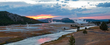 Firehole River At Sunset Flowing Past The Midway Geyser Basin In Yellowstone National Park In Wyoming USA