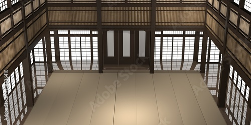 Garden Poster Martial arts 3d rendered illustration of a traditional karate dojo or school with training mat and rice paper windows.