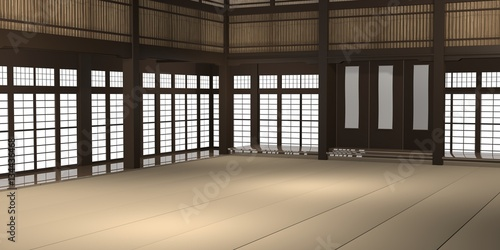 Fotobehang Vechtsport 3d rendered illustration of a traditional karate dojo or school with training mat and rice paper windows.