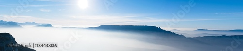 Blanc beautiful french alps winter panoramic aerial view landscape with a fantastic blue haze cloudy mountain background