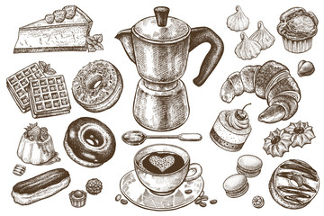 Tapeta Coffee and desserts vector set illustration. Food elements isolated on white background. Coffee pot, cup and spoon. Cakes, cookies, muffins, donuts, pastries, candy in style of vintage engraving.